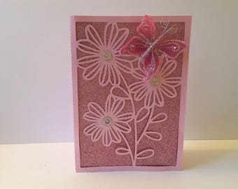 Pink Shimmer Cut Out Flower Card