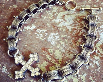 Rhinestone Cross Bracelet, Cross Bracelet, Faith Bracelet, Blessed Bracelet, Flea Market Bracelet