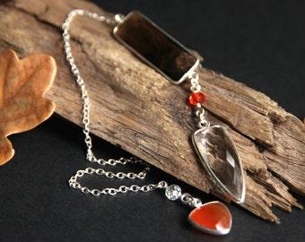 Autumn Pendulum. Quartz Crystal Pendulum. Gemstone Pendulum. Smoky Quartz Pendulum. Carnelian Pendulum. New Age Sterling Silver Pendulum.