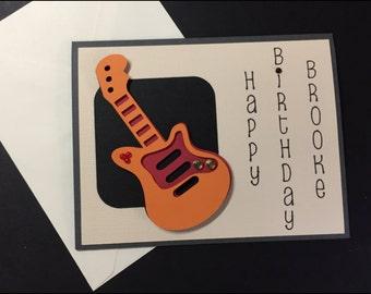 Birthday Card, Handmade Card, Masculine Birthday Card, Guitar Birthday Card