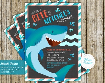 Shark Birthday Invitations Shark Attack Party Shark Birthday Invites Bite Boy Pool Swim Party Digital Printable