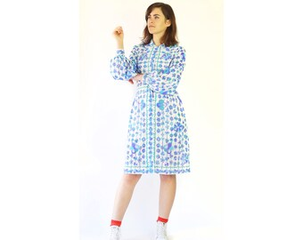 1960's Emilio Pucci for Formfit Rogers Collared Button Flower Dress
