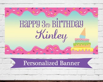 "18""x36"" Ice Cream Theme Personalized Party Banner 
