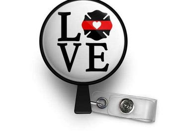 Thin Red Line of Courage LOVE Emblem Retractable ID Badge Reel
