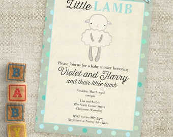 Baby Boy Little Lamb Shower Invitations Blue and Teal Lamb Custom Invites with Professional Printing Option