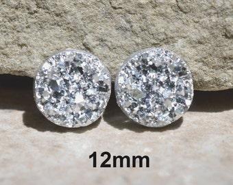 Silver Druzy Studs, Silver Earrings, Fauz Druzy, Large Druzy Studs, Metallic Druzy Studs, Stud Earrings, 12mm Studs, Imitation Druzy Studs