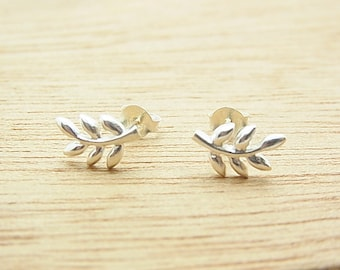 Silver Olive Branches Post  Stud Earrings.92.5% Sterling Silver.Hypoallergenic. Nickel free. 1 pair .
