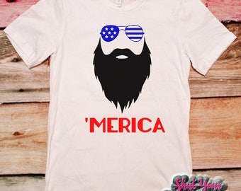 Merica Shirt, Patriotic Shirt, Funny Beard Shirt, Fourth of July, Independence Day, 4th of July, Funny Patriotic Shirt, Red White and Blue