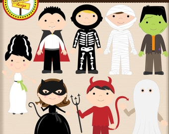 Halloween Costume Clipart - Halloween Costume Clip art - Cute Digital Clipart - Personal Use - Commercial Use - Card Design Scrapbooking