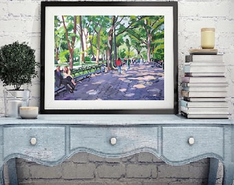 Central Park NYC Art Print 8x10, 11x14 White or Black Frame, Trees, Benches, green purple New York Cityscape Painting by Gwen Meyerson