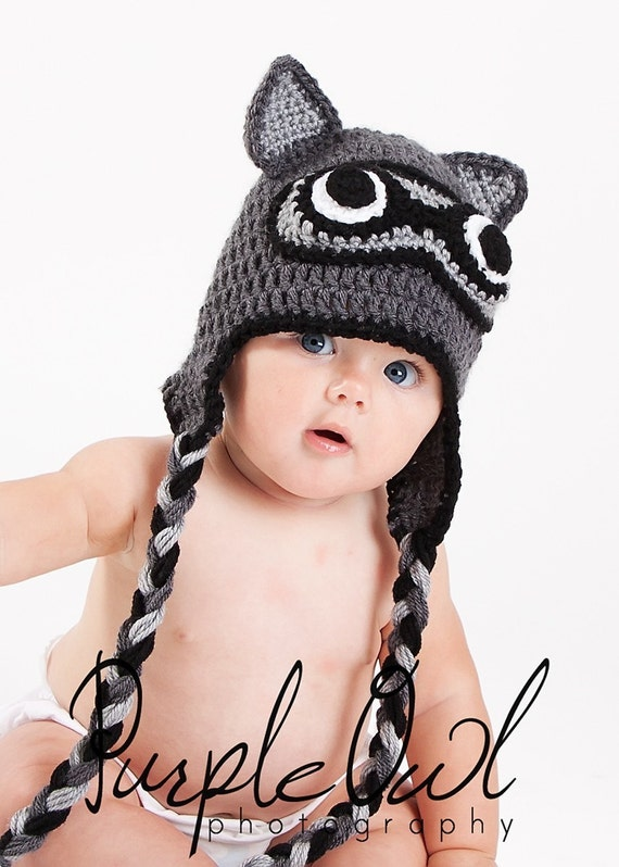 Racoon Earflap Hat - Any Size - Photo Prop