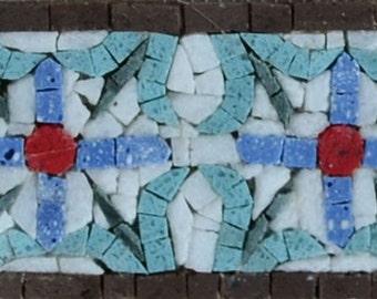 Mosaic Border - Empire Blue Florals