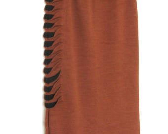 Knitted Clay brown Midi Skirt