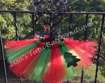 Oh Christmas Tree tutu. Christmas tutu. Red and green tutu. Holiday tutu.