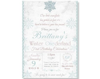 Winter Onederland Birthday Invitation, Girl's First 1st Wonderland Party Snowflake Shabby Chic Pink Teal Lavender, Printable or Printed 297