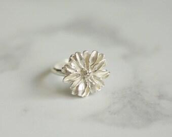 Silver daisy ring - Daisy ring - Flower ring - Sterling silver