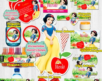 Editable Snow White printable Kit (invitations, centerpiece, labels, cabinets and more!)