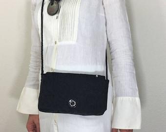 Black/ Cotton/ Embroidered/ Crossbody/ Messenger/ Clutch Bag