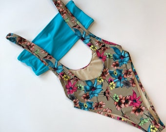 Women's one piece bathing suit cheeky bandeau floral overall swimsuit