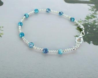 silver stacking bracelet, blue bracelet, pale blue bracelet, silver bracelet, delicate bracelet, pastel blue bracelet, dainty bracelet