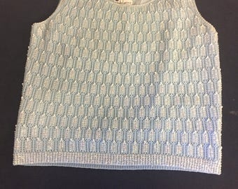 Vintage 1960 Pastel Blue Winklemans Wool Beaded Tank Top