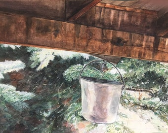 Pine Bucket Watercolor- Large Painting on Paper- 18x24- Rustic, Colorado Art- Green, White, Brown. Grey