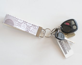 Fabric Key Chain Fob Hipster Grey Pop