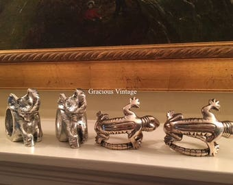 Vintage Set Of Four Napkin Rings 2 Elephants 2 Lizards - Free Shipping