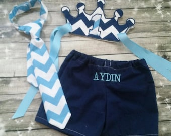 1st birthday Chevron Cake Smash Outfit - Embroidered crown, neck-tie and shorts