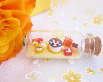 Miniature birthday bottle polymer clay present homedecoration birthday gift