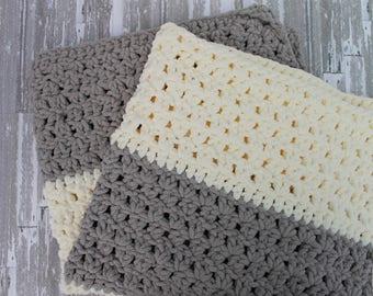 Chunky Color Block Crochet Baby Blanket/ Cream & Grey