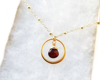 Red Garnet Necklace  - Garnet and Gold - Gold January Necklace - January Birthstone - Gift for her - Garnet Pendant -  14k Gold Filled