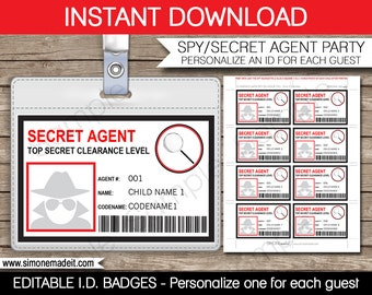 Secret Agent Badge - Spy Birthday Party - Printable ID Badge Template - INSTANT DOWNLOAD with Editable text - you personalize at home