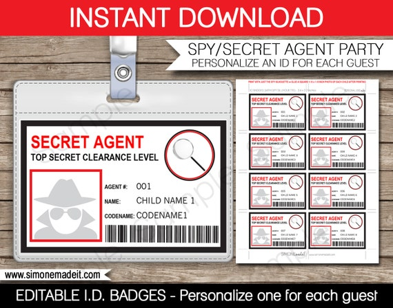 Secret Agent Badge Spy Birthday Party Printable Id Badge
