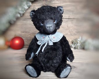 Teddy Bear, Black Plush, Stuffed Jointed Animal OOAK