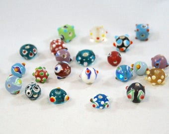 Small Multi-Colored Glass Lampwork Beads With Bumpy Design 20 Beads  ( 8 to 14  mm)