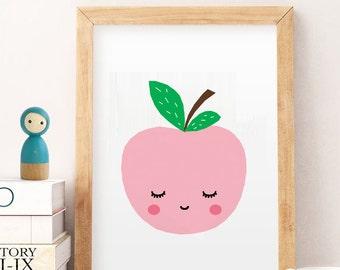 SALE pink Apple Print, Nursery Decor, Nursery Art, Kitchen Decor, Kitchen Art, Modern Art, Wall Art, Modern Decor, Digital Print, pink Apple