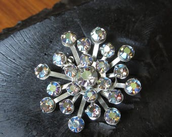 Vintage Atomic Brooch,Clear & Blue Iridescent Rhinestone Brooch, Silver, Prong Set, Atomic Flower,Mid Century Pin,Retro Jewelry,Atomic Brooc