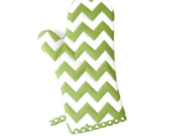Oven Mitt - Green and White - Chevrons - Gift for Foodie - Gift Under 20
