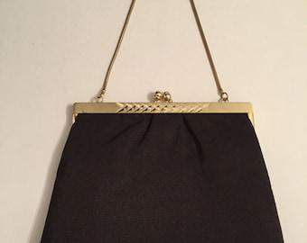 Mid Century Purse - Brown Purse - Brown Handbag - Gold Tone Purse - Brown Clutche - West Germany