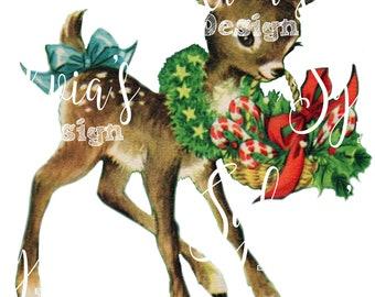 Vintage style Deer, Fawn digital download
