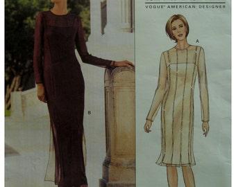 Slinky Sheer Dress, Tom and Linda Platt Evening Wear, Slip Dress, Fitted, Sheer Overdress, Vogue No.2715 UNCUT Size 18 20 22