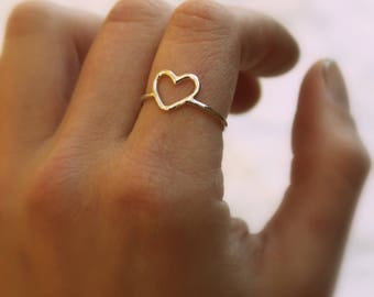 Open Heart Ring//Sterling Silver//Handmade//Made to order