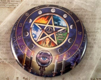 Wiccan Fridge Magnet, Pentacle Magnet, Wiccan Pocket Mirror, Wiccan Pin, Purple Pentacle, Pagan, Metaphysical, New Age