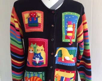Vintage 80's CAT Sweater Rainbow stripes cardigan Cat Lady Kittens Retro  Size Large