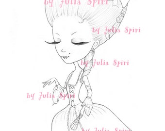 Princess Digital stamps, Vintage Digi, Princesses, Rococo, Big Eyes, Cute, Coloring pages, Paper crafting. Marie Antoinette