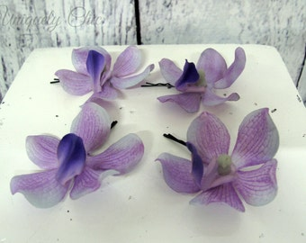 Lavender orchid hair pins, Purple wedding accessories, Bridal hair accessory, Prom accessories, Casual hair wear, Bridesmaid gift,