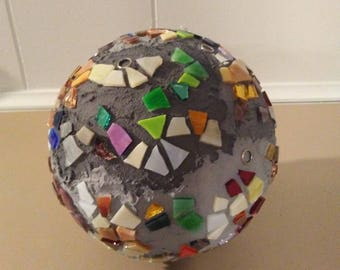 Mosaic art - garden ornament - mosaic home decor- colorful art - garbage ball - mosaic ball - glass art - 3D mosaic art - glass art decor