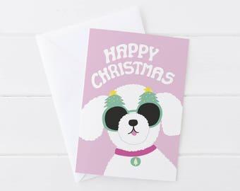 Greeting card, Christmas, Dog, poodle, maltese, maltipoo, bichon friese, Christmas sunglasses