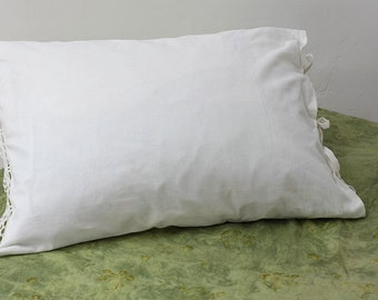 Set 2 Linen Pillowcases / Pillow Cases set- 2  / Linen pillowcase with cotton lace/ linen pillowcase with tie closure
